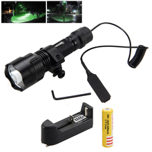 купить C8 Green LED Tactical Flashlight Torch+Remote Pressure Switch+Light Mount Gun по цене 1249.22 рублей