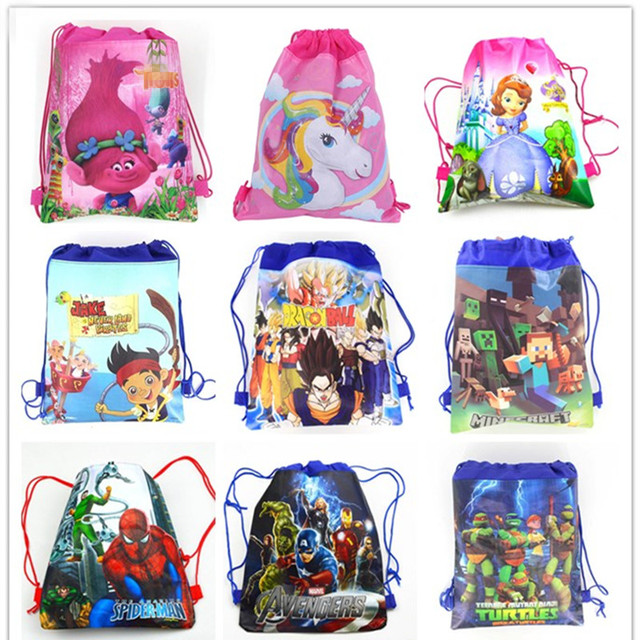 1pc  Cartoon School Backpack for Boy,Girl Unicorn Drawstring Bag Student book bag Kids School Bag Spider-man avengers