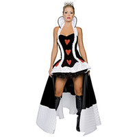 2018 new high quality sexy Queen of Hearts costume deluxe cosplay costume with crown and petticoat Helloween Party fancy dress