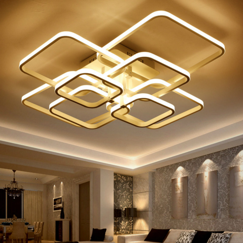 Modern minimalist combination of square lamps living room personality Iron Creative fixture home decor LED acrylic ceiling lamp vemma acrylic minimalist modern led ceiling lamps kitchen bathroom bedroom balcony corridor lamp lighting study
