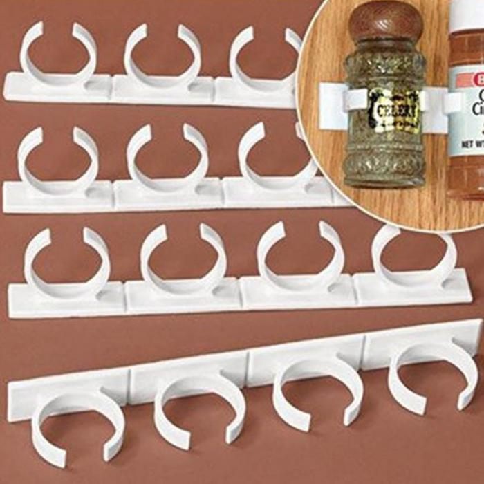 Self-adhesive Spice Jar Organizer Rack Cabinet Door Store N Spice Clip Strips Condiment Bottle Holder Shelf Kitchen Gadget 4pcs