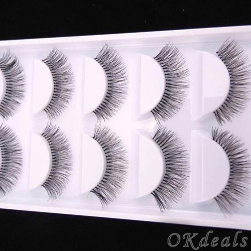 5 Paires Natural Black Long Clairsemée Croix Faux Cils Faux Cils Maquillage Des Yeux Extensions Outils 1