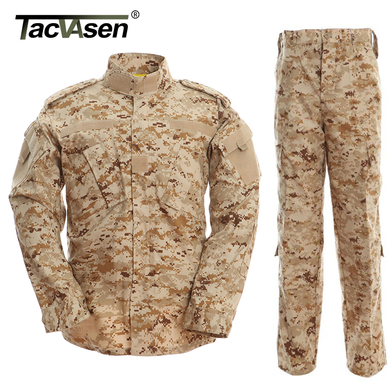 TACVASEN Desert Camouflage Men Army Military UniformTactical Military Bdu Combat Uniform US Army Men Hunt Clothing