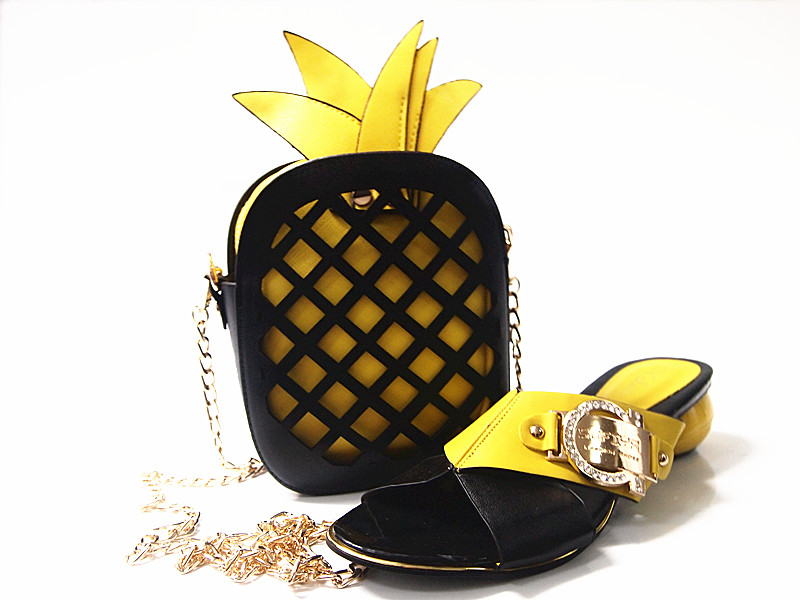 ФОТО Red Pineapple Color Lady Fruit Handbag With Matching Shoe For Wedding New Coming Fashion For Lady Dress Set G15