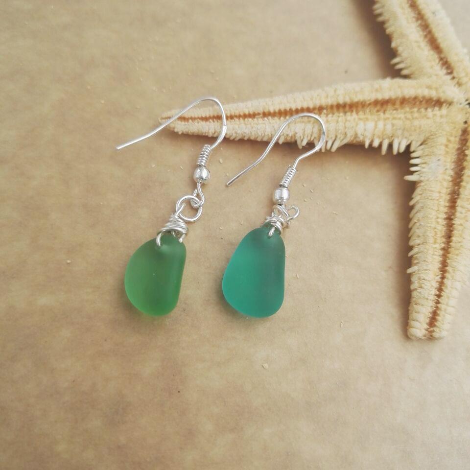 Sanlan 1 Pair Green Sea Gl Earrings Wire Wred Wedding Jewelry Beach In Stud From Accessories On Aliexpress