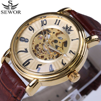 2017 SEWOR Hollow Engraving Skeleton Casual Designer Black Golden Case Gear Bezel Watches Men Luxury Brand