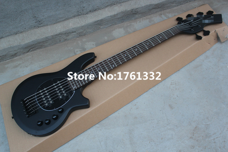 factory custom 6 strings full black body electric bass guitar with initiative circuit 2 open. Black Bedroom Furniture Sets. Home Design Ideas