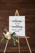 Welcome Wedding Stickers Custom Personalized DIY Sign Couples Names and Dates Mirror Decoration Beauty Decor LY1489