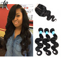 4 Bundles Cheap Indian Body Wave Hair Extensions With Closures Indian Virgin Hair Body Wave With Rosa Hair Products Closure