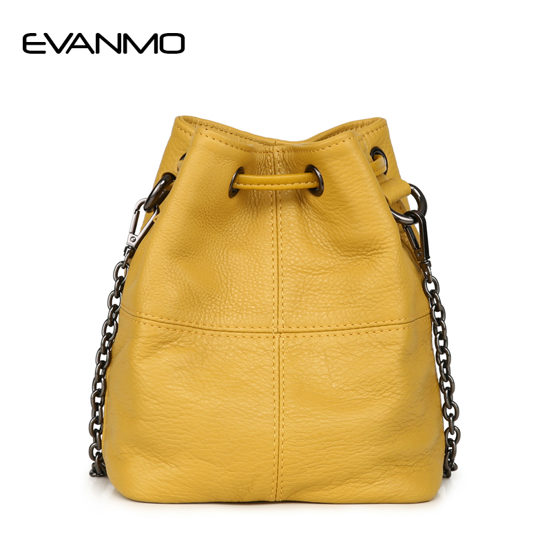 Newest Fashion Bucket Bag Summer Women Genuine Leather Shoulder Bag Lady Soft Real Leather Cross Bag Simple Messenger Bag E hibo newest bucket bags mansur gavriel women genuine leather hand bag lady shoulder bag cross bag messenger free shipping