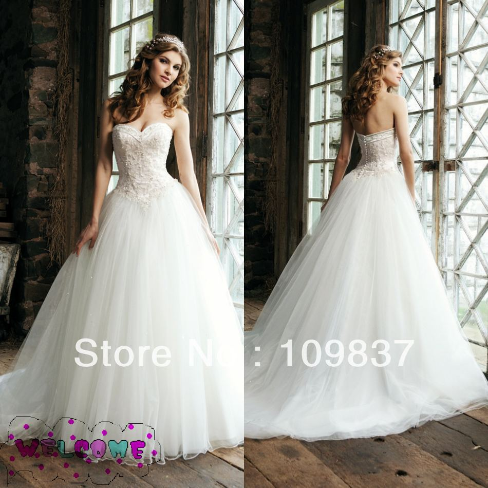 Free Shippingwhite Elegant Ball Gown Sweetheart Beaded Bodice Drop Waist Princess Wedding Dress In Dresses From Weddings Events On Aliexpress