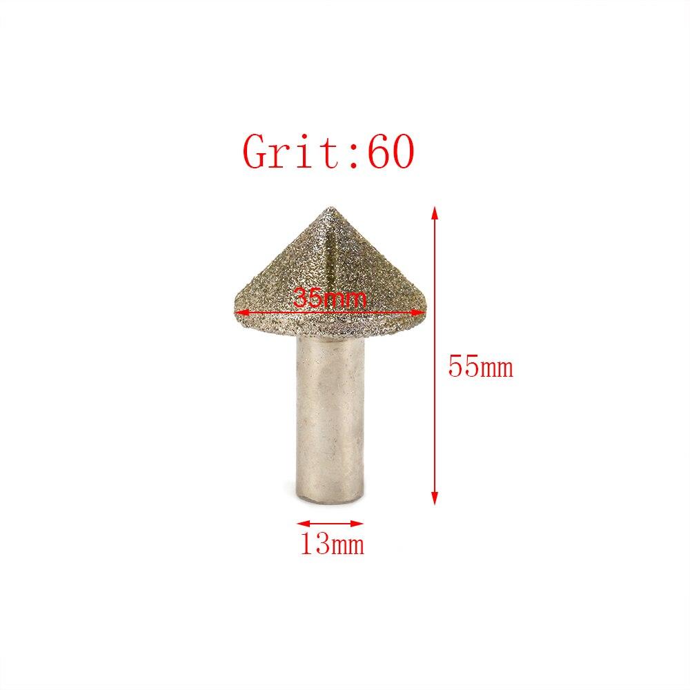 New 35mm 60# Cone Type Brazed Diamond Profile Wheel For Marble Granite Rock Glass Rotary Tool Shank Diameter 13mm