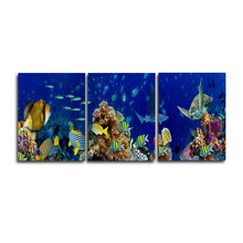Laeacco 3 Panel Underwater World Sea Fish Posters and Prints Wall Art Canvas Painting Retro Pictures For Home Living Room Decor laeacco sea marine fish sunshine posters and prints canvas painting wall art picture home decor living room decoration