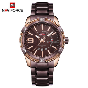 NAVIFORCE Men's Luxury Stainless Steel Calendar Date Display Waterproof Quartz Watches 5