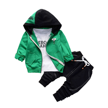dfbbb54ee Primavera otoño niños niñas conjuntos de ropa de algodón de bebé Patchwork  sudaderas con capucha camiseta pantalones 3 unids/set moda chándales