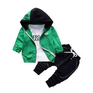 Image 1 - Spring Autumn Children Boys Girls Cotton Clothing Sets Baby Patchwork Hoodies T shirt Pants 3Pcs/Sets Fashion Toddler Tracksuits
