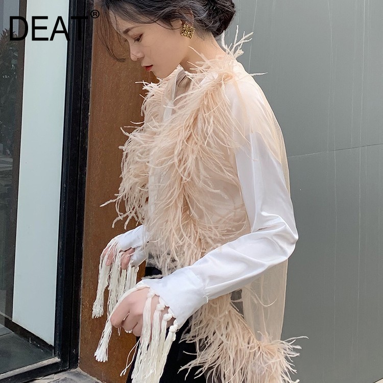 DEAT 2019 New Summer Fashion Women Clothes Full Sleeves Flare Real Fur Spliced Single Breasted Mesh