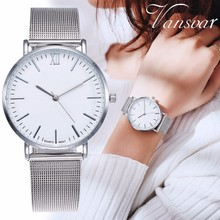 Vansvar Brand Fashion Rose Gold Mesh Band Wrist Watch Luxury Women Silver Quartz
