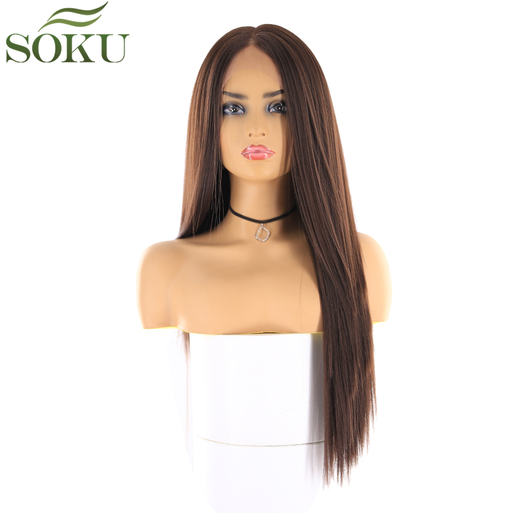 Image 3 - Synthetic Lace Front Wigs Long Straight Middle Part Wig SOKU 130% Density Glueless Heat Resistant Fiber Wigs For Black Women-in Synthetic Lace Wigs from Hair Extensions & Wigs