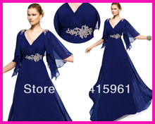 New Arrival Royal Blue V Neck Half Sleeves Full Length Chiffon Mother Evening Dresses M1646