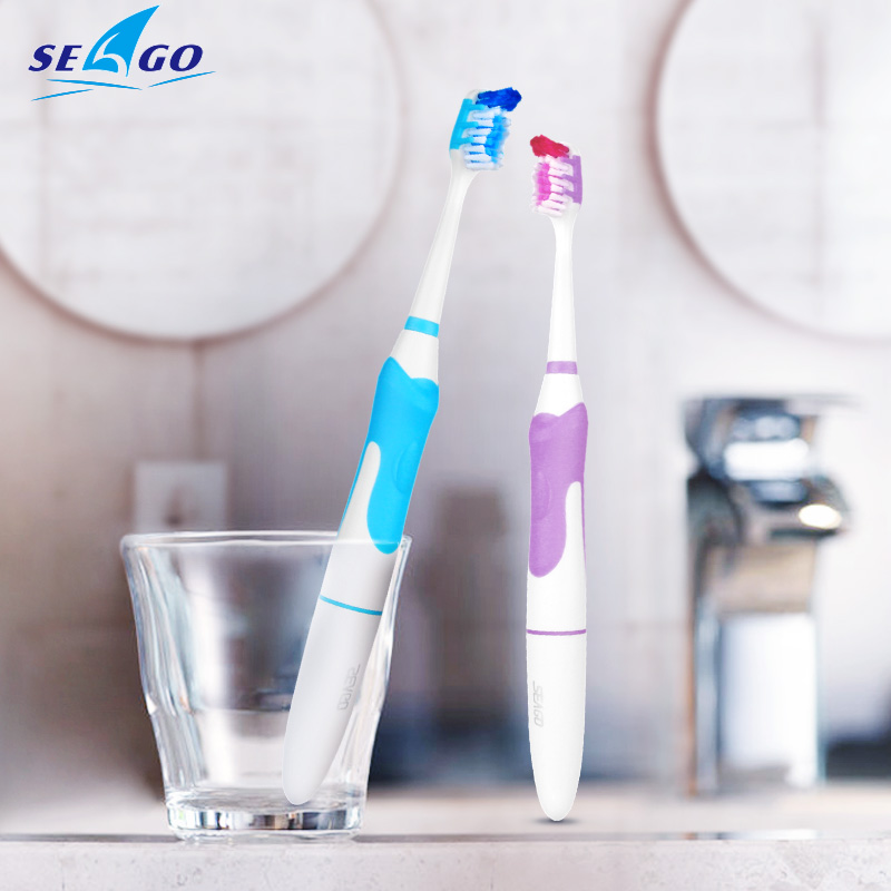 SEAGO Sonic Electric Toothbrush Non-Rechargeable Waterproof Adult Toothbrushes With 3 Brush Head Massage Gums Teeth White SG963