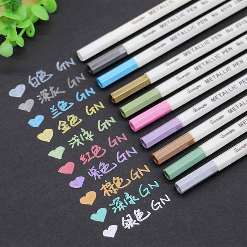 26 colores DIY Manga metálico marcador caligrafía cepillo pluma pincel de Graffiti dibujo arte marcadores de dibujo de pintura de la escuela suministros
