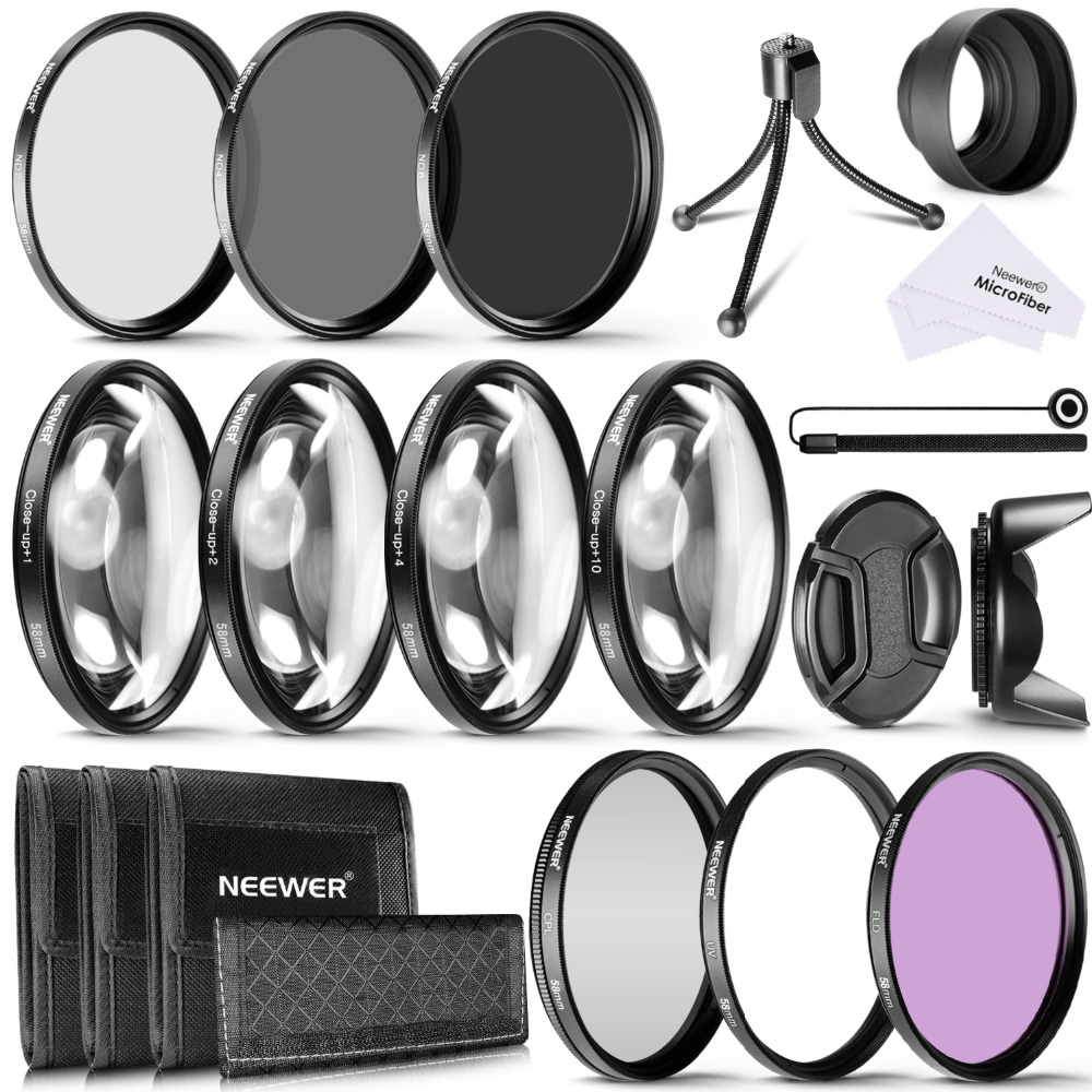 Neewer 58MM Camera Lens Filter Kit:58MM Close up Filters(+1 +2 +4 +10)+ND Filters(ND2 ND4 ND8)+UV CPL FLD Filters+Lens Hood