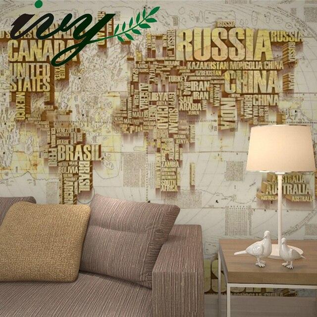 Ivy morden carta da parati mappa del mondo 3d carta da for Carta parati murales
