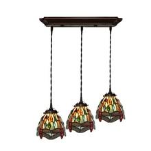 Antique Vintage Stained Glass Jewel Long Rope LED Hanging Pendant Lamp Light Restaurant Cafe Bar Dining Room Chandelier Lighting
