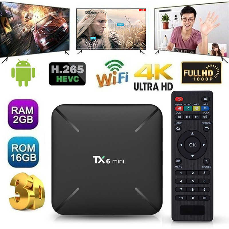 TX6 Mini Android 9.0 4 K Smart Android TIVI Box GB RAM 16 GB S905W 4 K Full HD WIFI phương tiện truyền thông Người Chơi Set Top Box Vệ Tinh Đầu Thu Tín Hiệu