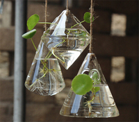 3pc Lot Pretty Clear Triangles Waterdrop Rhombus Glass Plant Vase Terrarium Hydroponics Hanging For Wedding Party