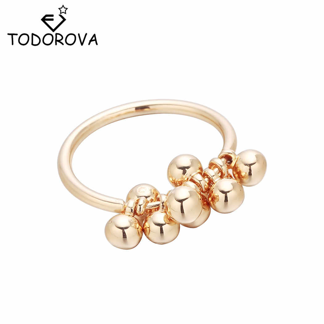 Todorova New Hot Sale Gold-color Bead Pendant Rings for Women Lady Cute Charms Fashion Jewelry Lovely Grape Beads Ring
