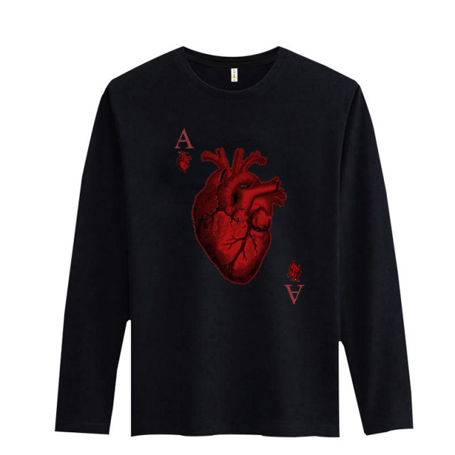 1b3f0545 New RED HEART Poker T-shirts Men's Long Sleeve Cotton Black And White Funny  Graphic Tshirts Fashion Design Printed T Shirt Men