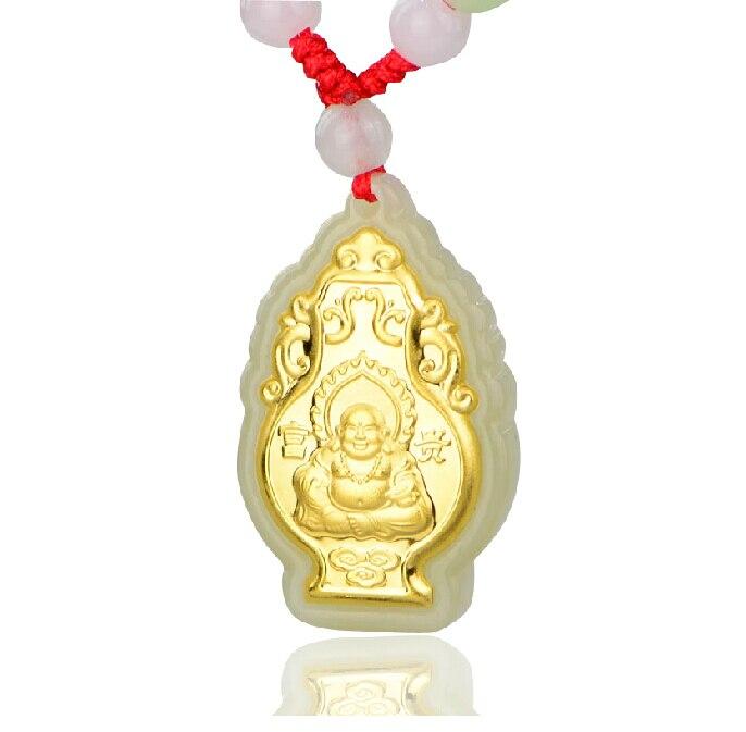 24K Yellow gold Natural Jadeite Carved Buddha Kwan-Yin Pendant ds 11 china bronze gilded guanyin bodhisattva comfortable kwan yin buddha statue page 4