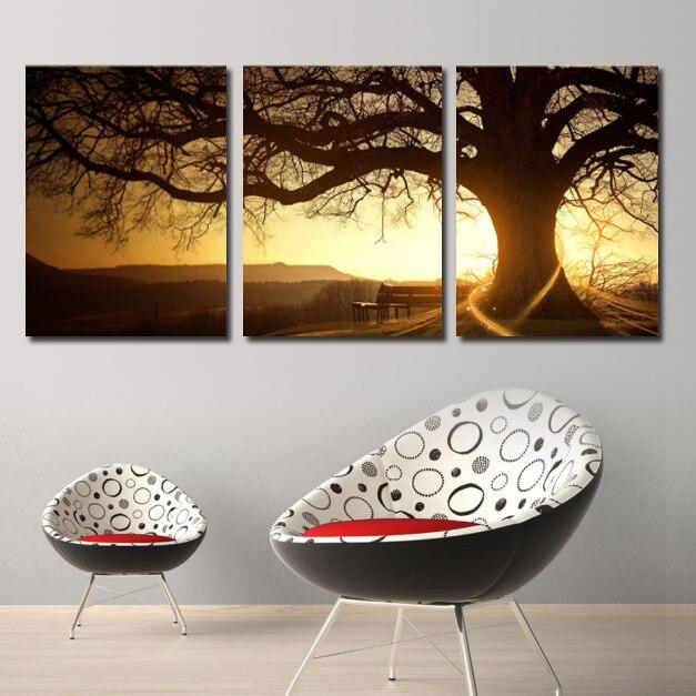 bellas artes pintura al leo del rbol del panel sunset atardecer paisaje pared del cartel