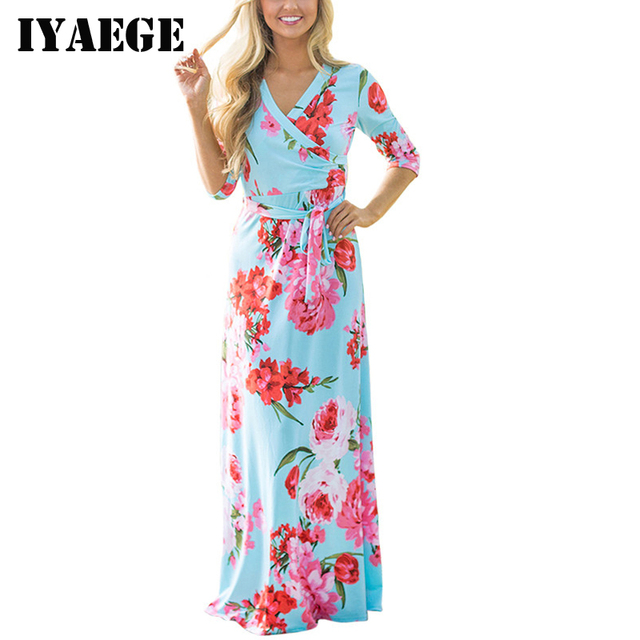 228a4573bfa451 IYAEGE Böhmischen Druck Lange Kleid Frauen Maxi Kleider Floral Print Retro  Hippie Vestidos Chic Marke Kleidung