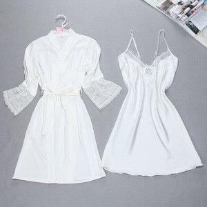 Image 4 - Fiklyc brand sexy womens robe & gown sets twinest bathrobe + mini night dress two pieces sleepwear womens sleep set faux silk
