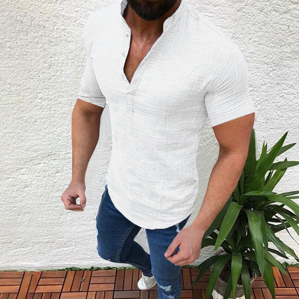 Men's Casual Blouse Cotton Linen shirt Loose Tops Short Sleeve Tee Shirt S-2XL Spring Autumn Summer Casual Handsome Men Shirt 10