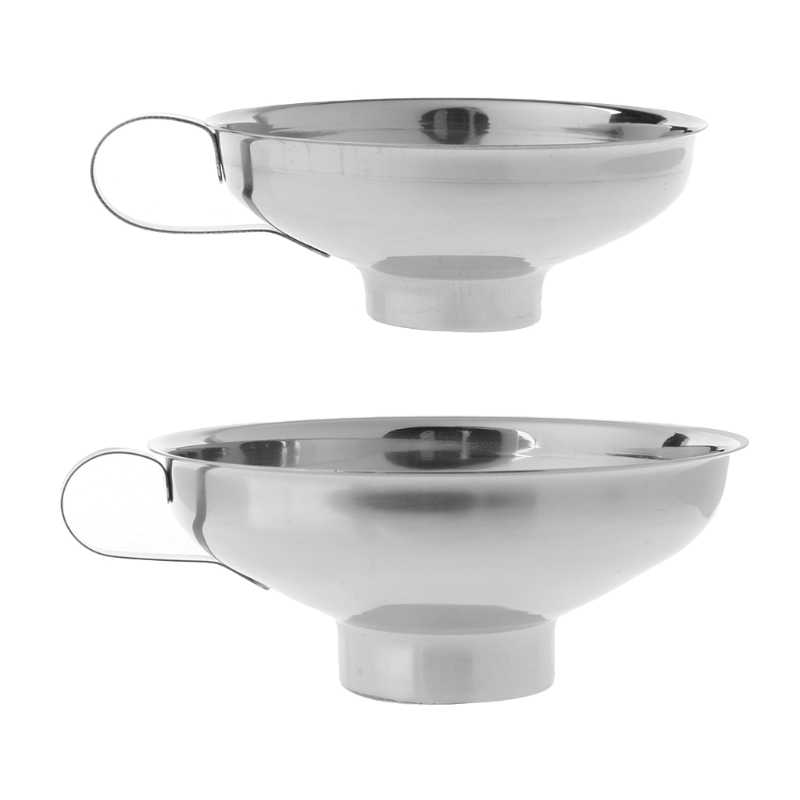 Very Popular 2 Size Stainless Steel Wide Mouth Canning Funnel Cup Hopper Filter Kitchen Tools