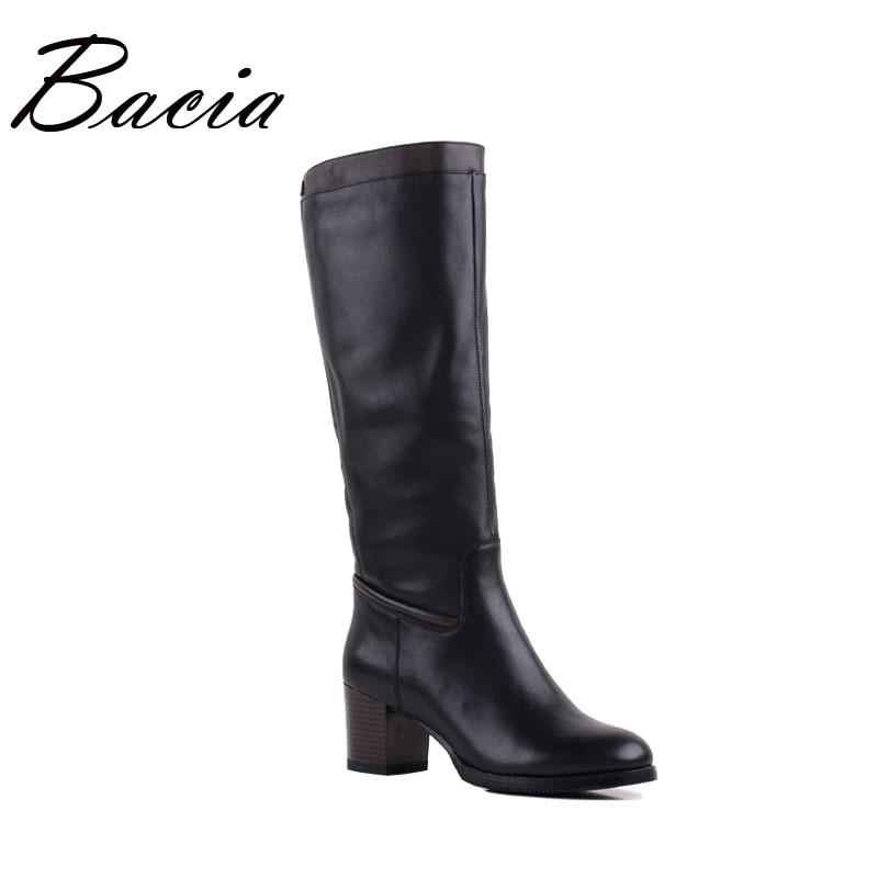 цена на Bacia Women Quality Boots Genuine Leather Shoes Winter Warm Wool Fur Boots Black Knee High Snow Boots Russian size 36-40 VF006