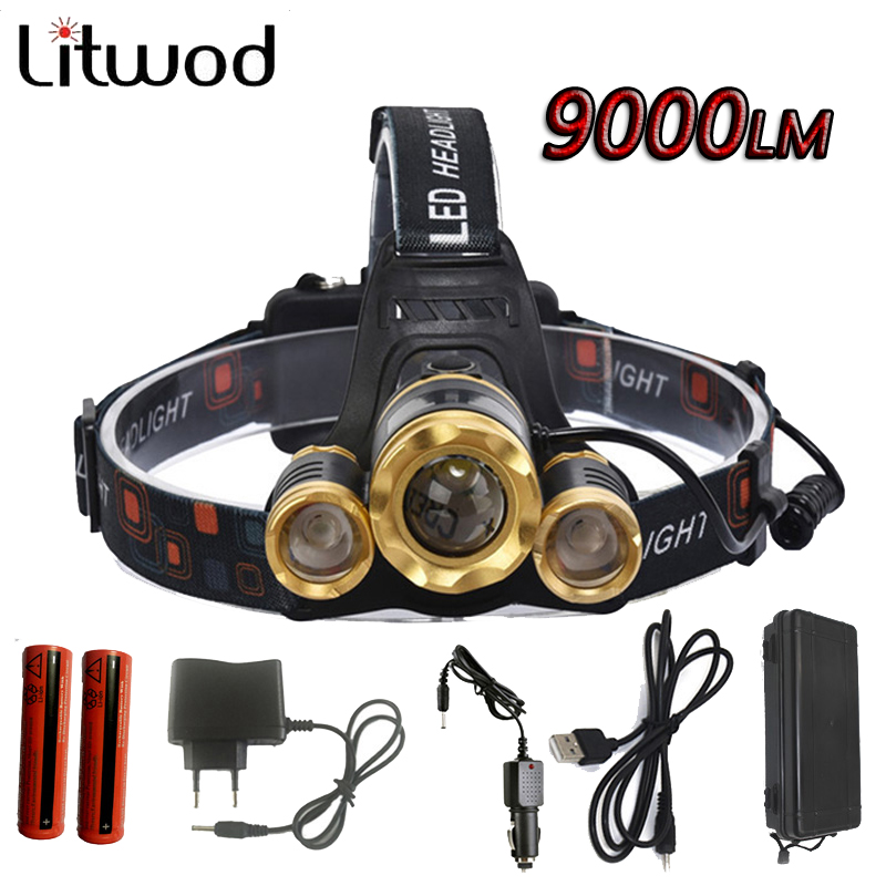 Z50 Led Headlight Zoom headlamp 9000Lm Rechargeable Head lamp Flashlight Head Torch 3T6 XM L T6