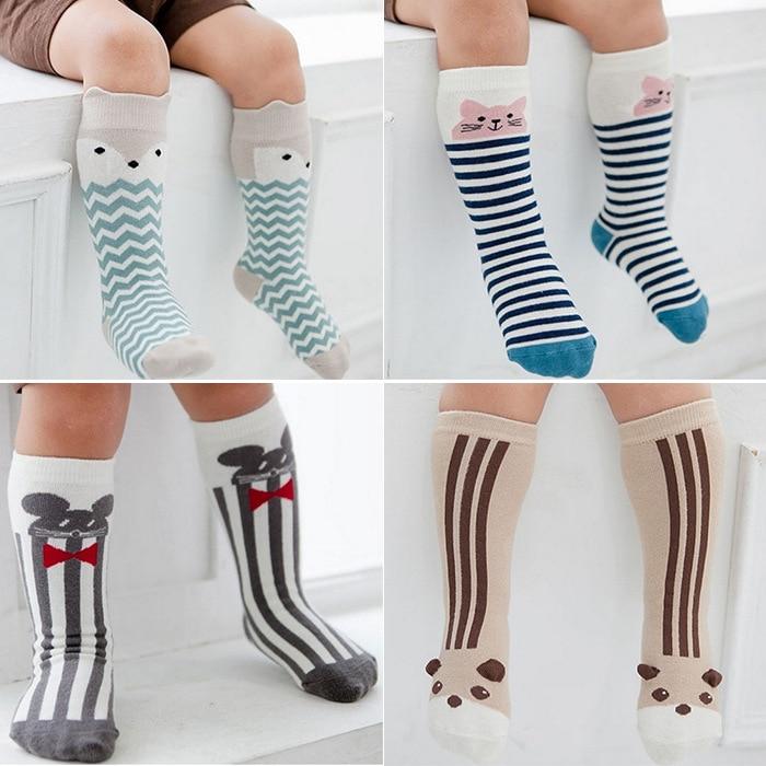 Korean Cartoon knee high socks anti slip baby boy girl infant leg warmer toddler kids socks cotton children meias girls boys