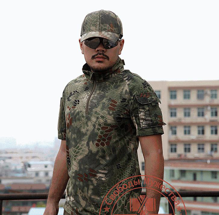 Army Quality T Shirt Men Summer Outdoors Hunting Camouflage Mens T shirt Breathable Rattlesnake Tactical Dry Sport TSHIRT