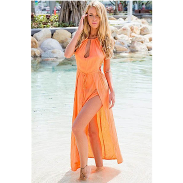 Trending Hot Products 2017 Long Maxi Style Leg Cut Out Front Woman Y Swimwear Dress