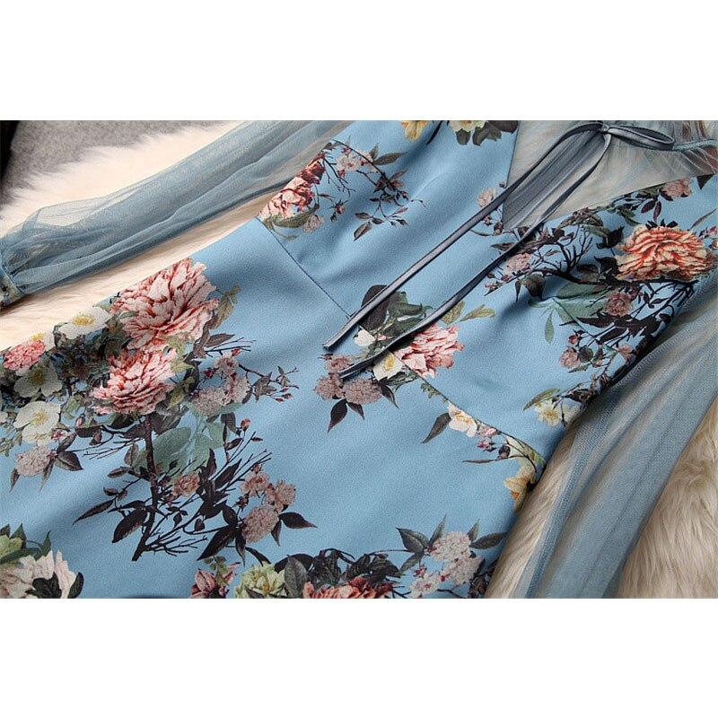 Manches Designer 2019 Décontractée Bleu Printemps À Partie Robe Stand Patchwork Nouvelle Tulle Sexy Mini Femme Floral Tenue Pour Imprimé Longues Cou Mode 9W2IHED