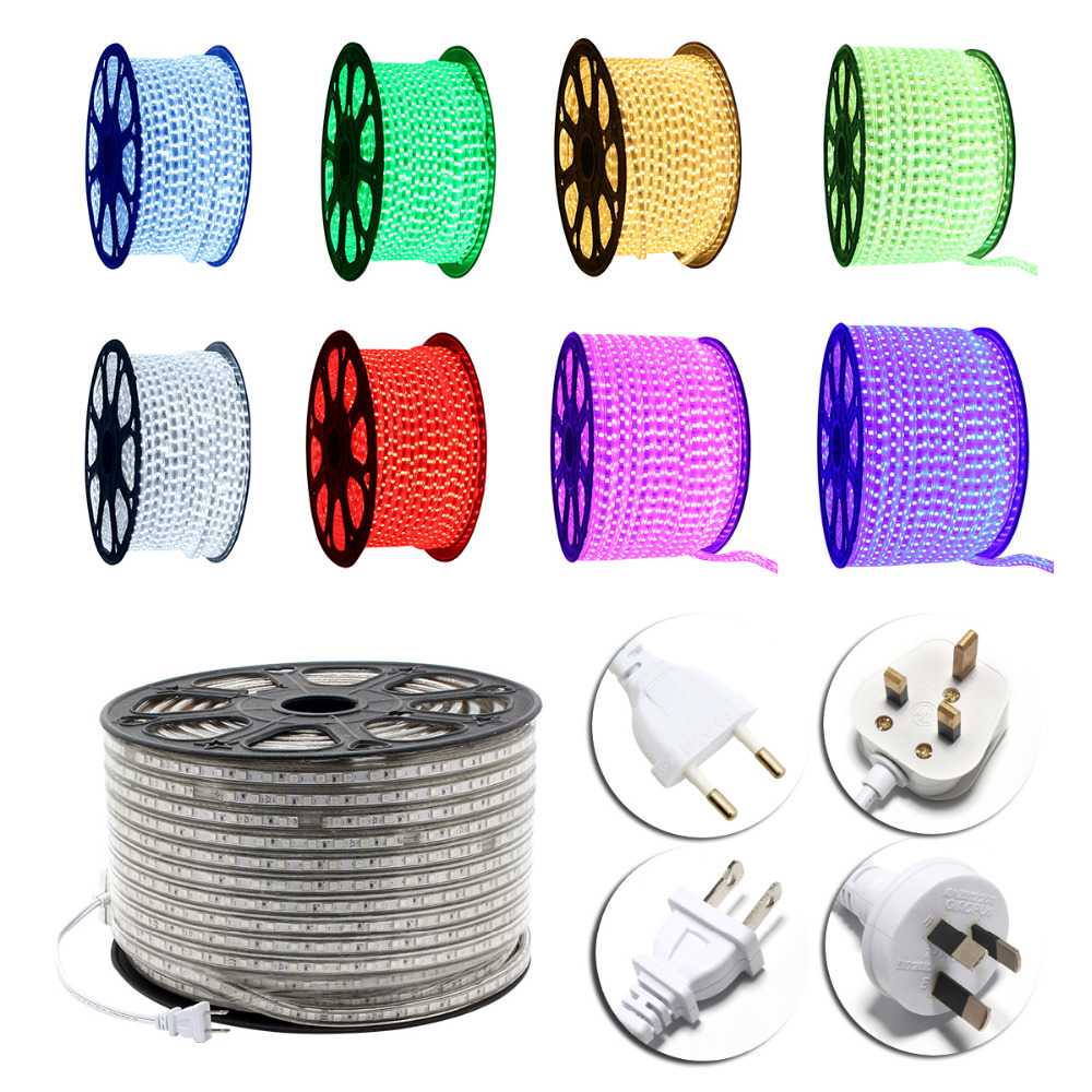 Waterproof RGB Color LED Strip Rope Light 20 100M 60 LEDs meter Ultra Bright 5050 SMD