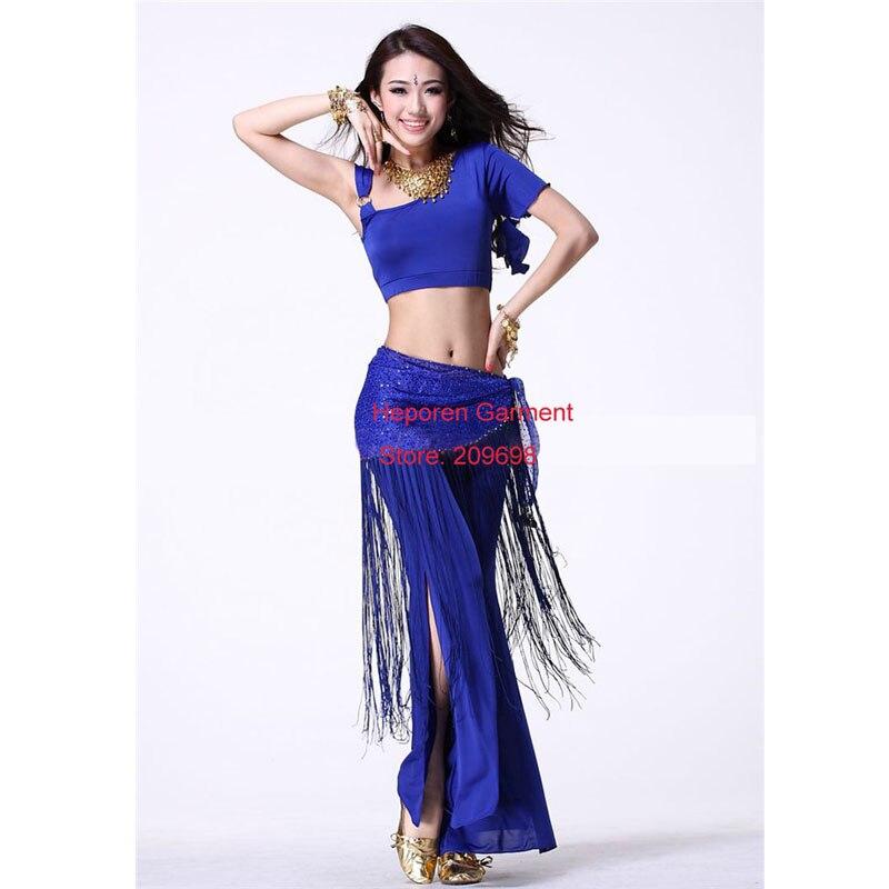 Bonny costume pour les femmes, y compris la robe, pantalon, chaîne de taille frangée, ensembles de danse indienne, perdre du poids vêtements, robe de danse de salon HSK043