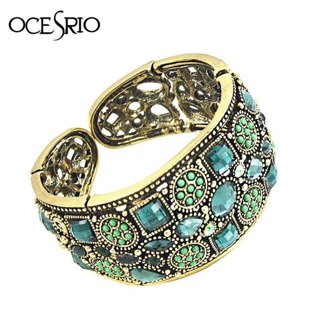 Brand Vintage Gold Bracelet for Women Crystal Rhinestone Open Wide Cuff Bracelets Bangles Cuff Bracelet Indian Jewelry brt-j46