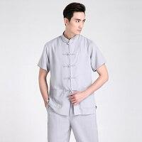 New Arrival Gray Chinese Men Kung Fu Shirt Cotton Linen Martial Arts Shirts Summer Tang Suit