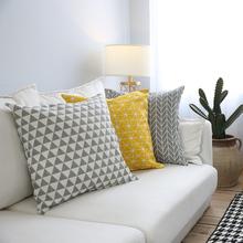 1pc styl skandynawski wzór geometryczny drukowane rzuć poduszka pokrywa bawełna lniana obicia na poduszki żółty szary domowa dekoracja na sofę 60x60cm tanie tanio MGHEYUD PRINTED Zwykły Tkane GEOMETRIC Plac Chair Dekoracyjne Seat Samochód Pościel bawełna